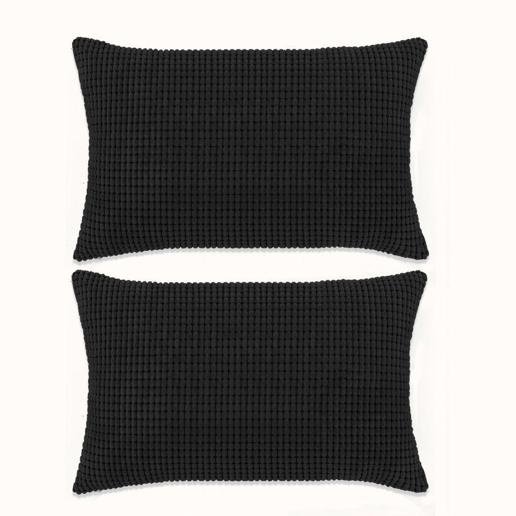 Sada polštářů - 2 ks - velur - černé | 40x60 cm