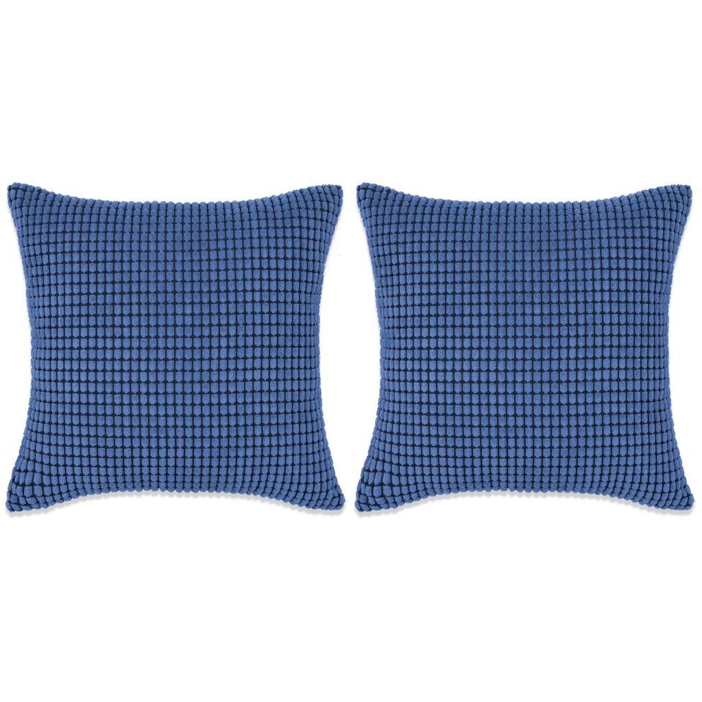 Sada polštářů - 2 ks - velur - modré | 45x45 cm