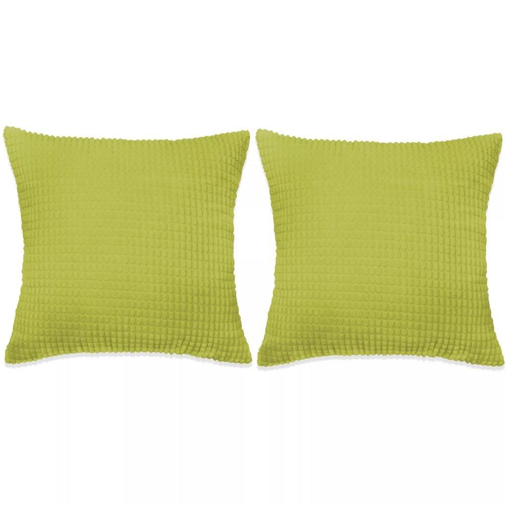 Sada polštářů - 2 ks - velur - zelené | 45x45 cm