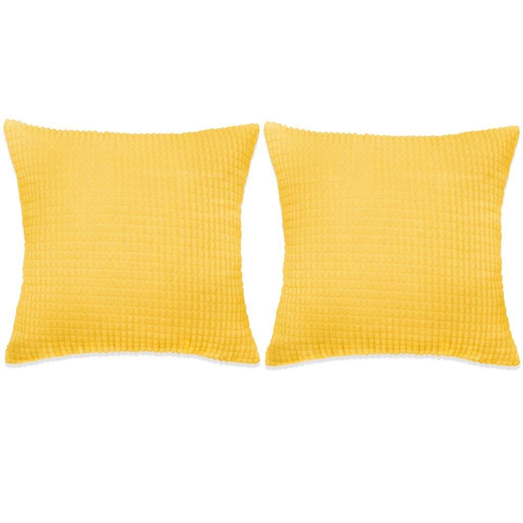 Sada polštářů - 2 ks - velur - žluté | 45x45 cm