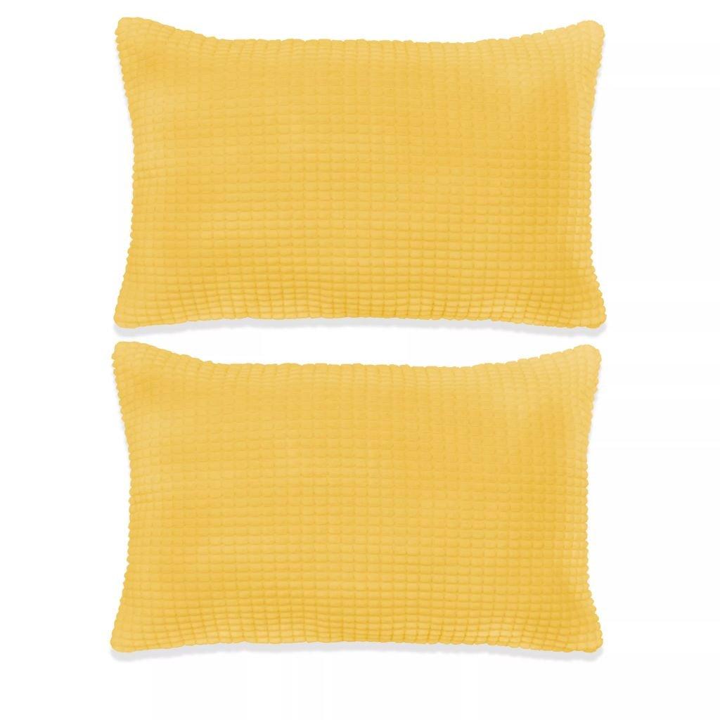 Sada polštářů - 2 ks - velur - žluté | 40x60 cm
