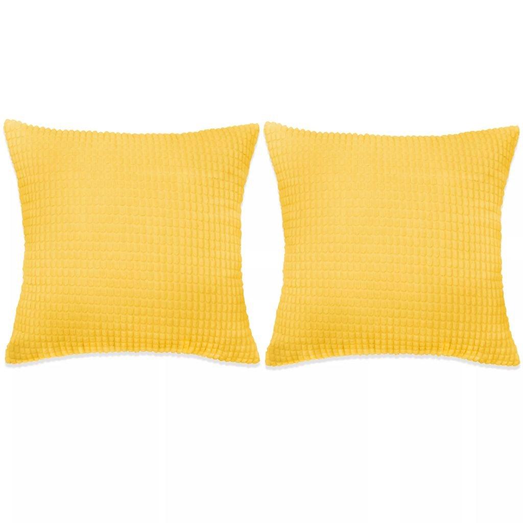 Sada polštářů - 2 ks - velur - žluté | 60x60 cm