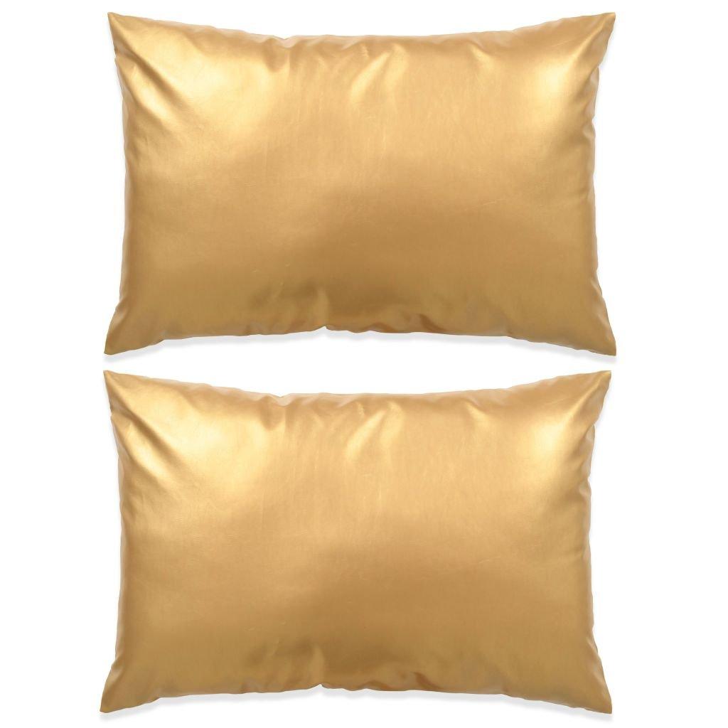 Sada polštářů - 2 ks - PU - zlaté | 40x60 cm