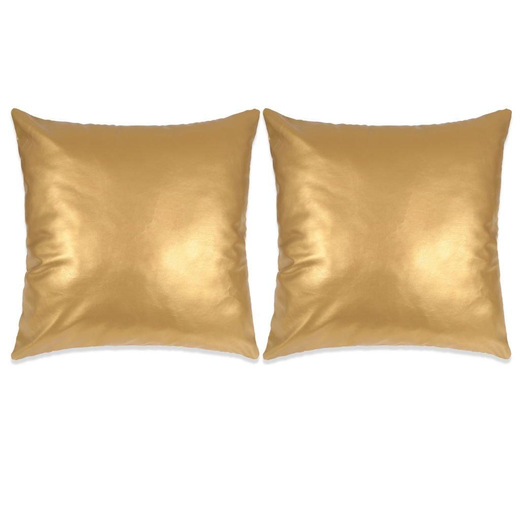 Sada polštářů - 2 ks - PU - zlaté | 60x60 cm