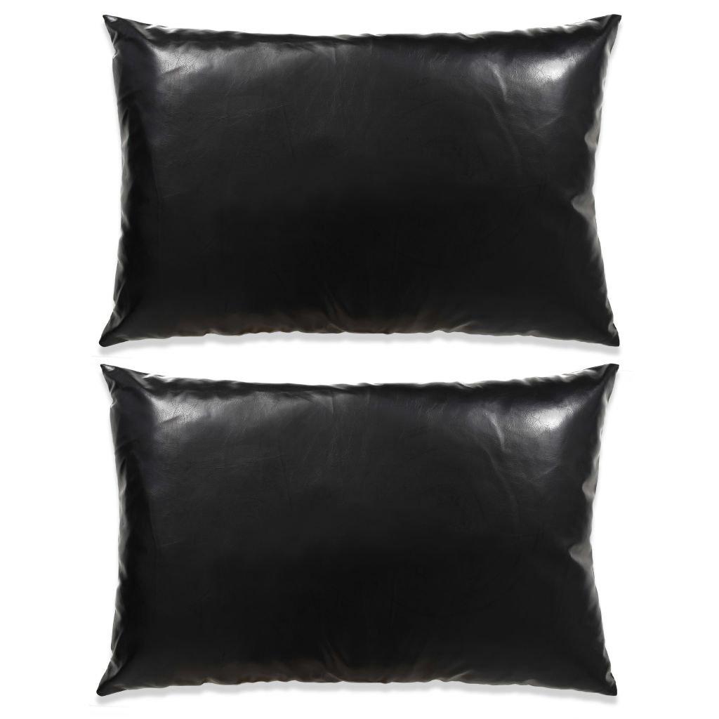 Sada polštářů - 2 ks - PU - černé | 40x60 cm