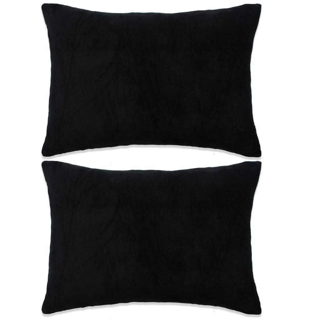 Sada polštářů - 2 ks - velur - černé   40x60 cm