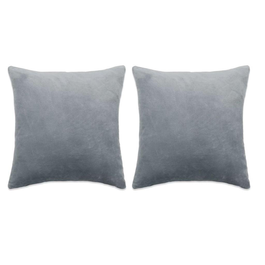 Sada polštářů - 2 ks - velur - šedé | 45x45 cm