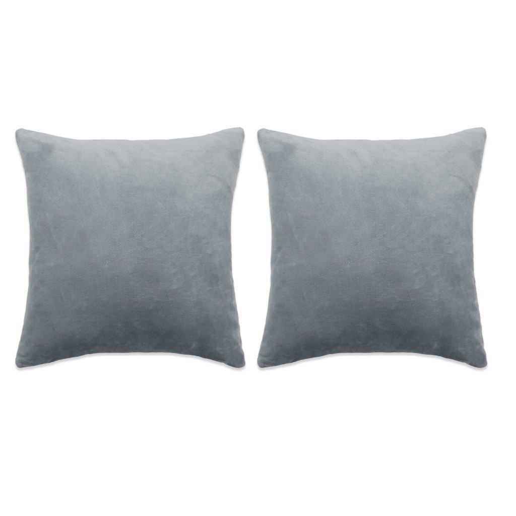 Sada polštářů - 2 ks - velur - šedé | 60x60 cm