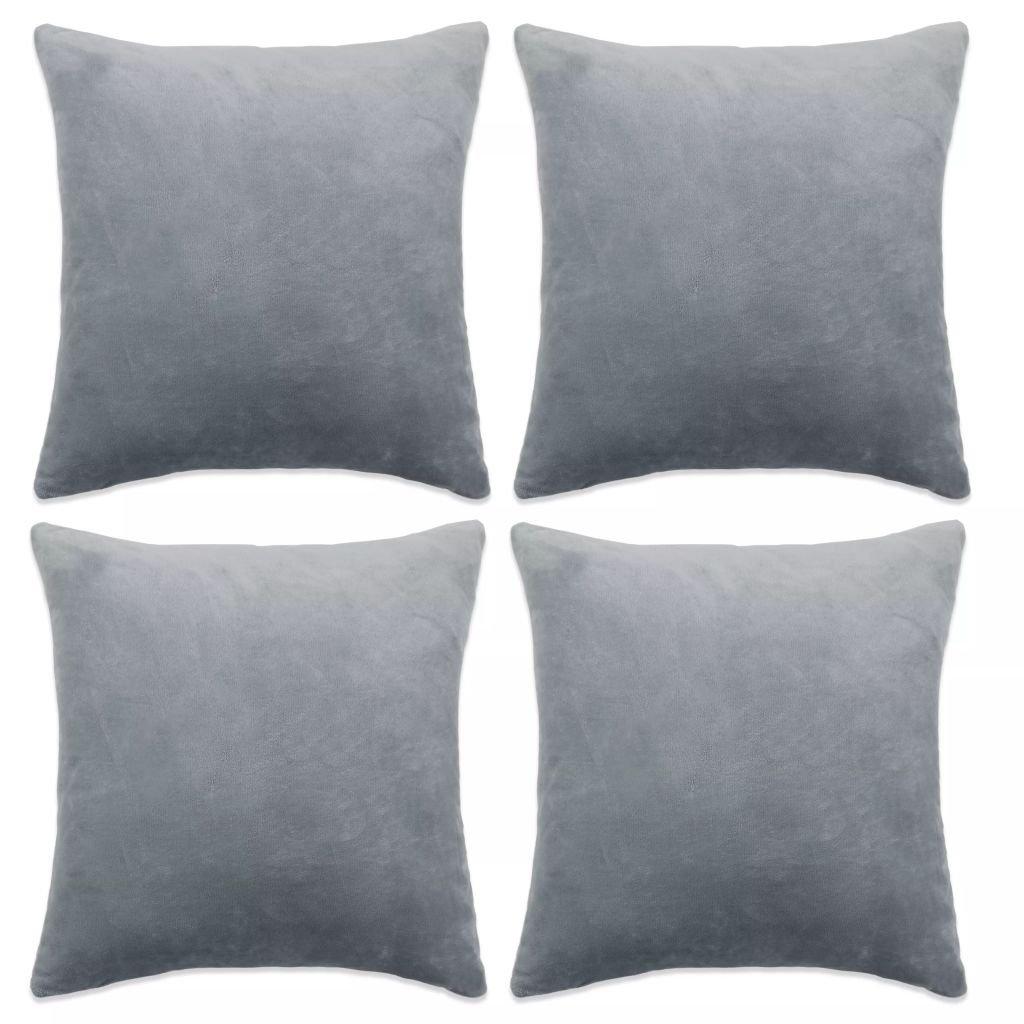 Povlaky na polštář - 4 ks - velur - šedé | 50x50 cm