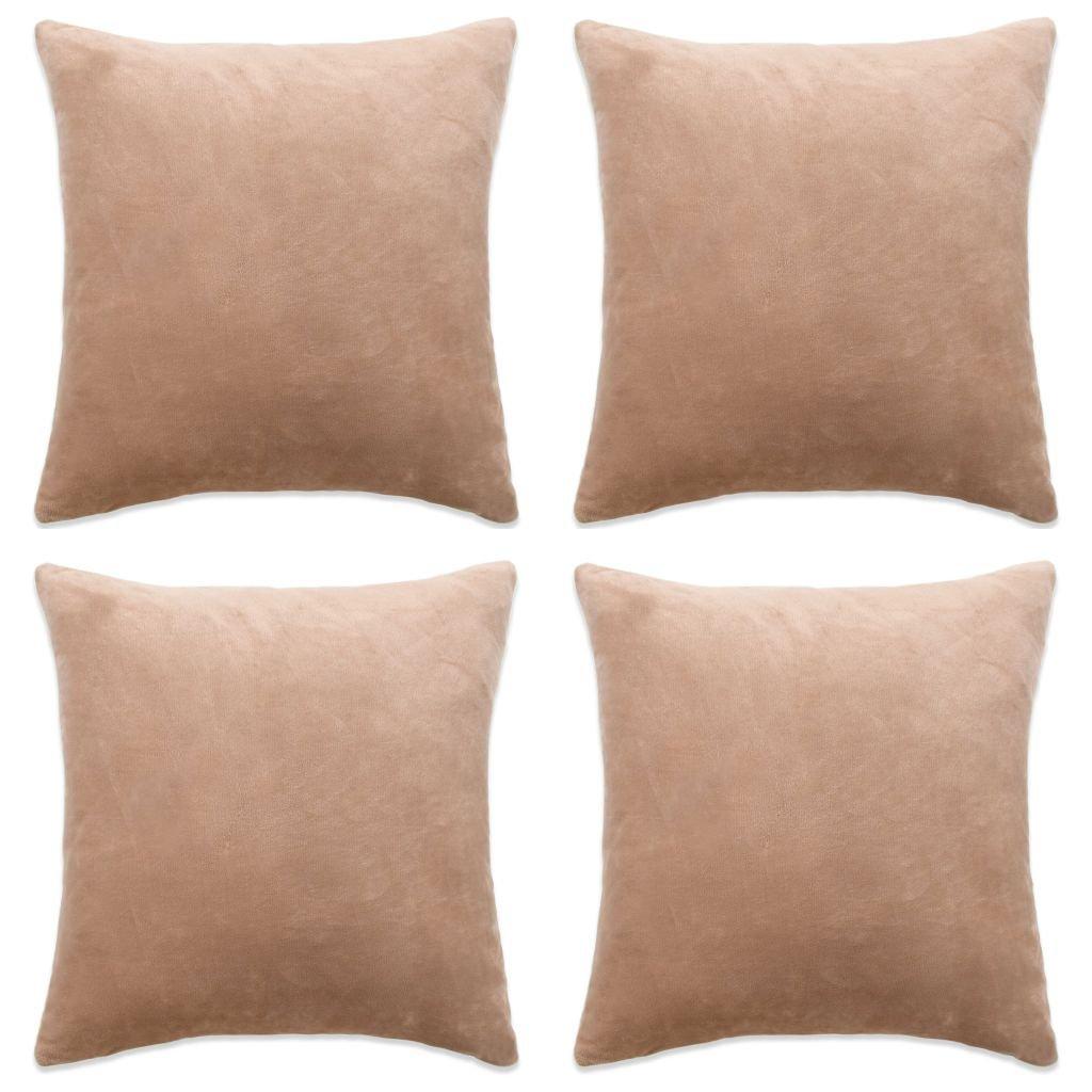 Povlaky na polštář - 4 ks - velur - béžové | 50x50 cm