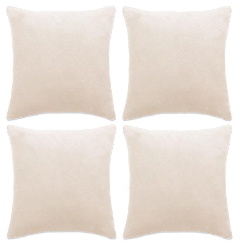 Povlaky na polštář - 4 ks - velur - našedlé | 50x50 cm