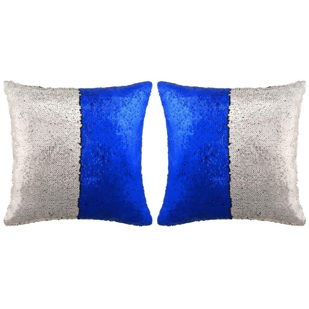 Sada polštářů s flitry - 2 ks - modro-stříbrné | 45x45 cm