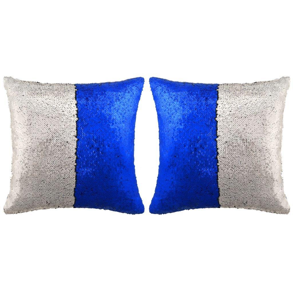 Sada polštářů s flitry - 2 ks - modro-stříbrné | 60x60 cm