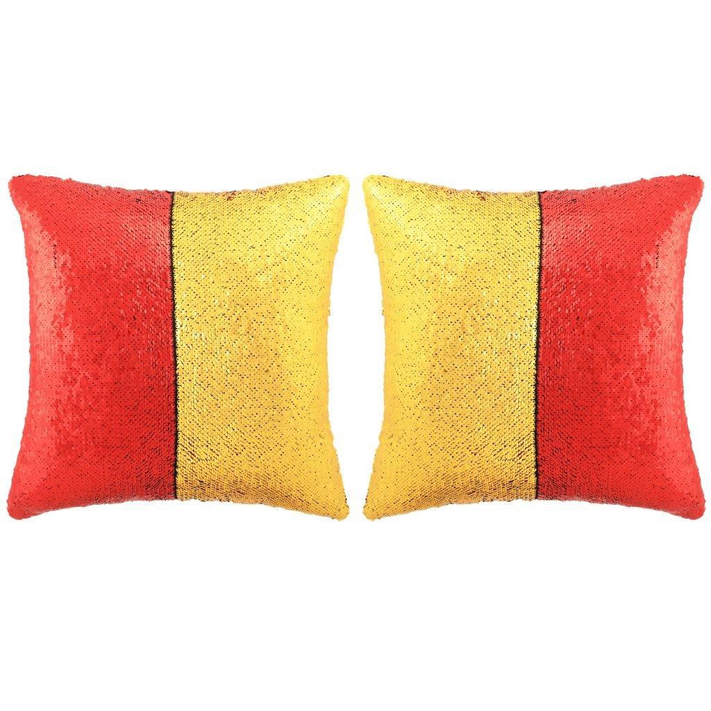 Sada polštářů s flitry - 2 ks - červeno-zlaté | 45x45 cm