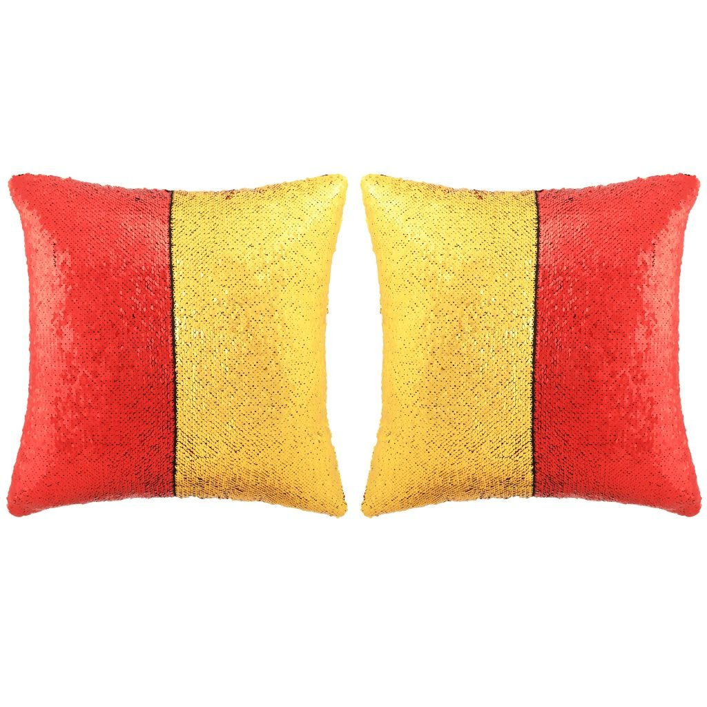 Sada polštářů s flitry - 2 ks - červeno-zlaté   45x45 cm