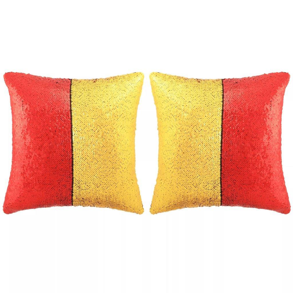 Sada polštářů s flitry - 2 ks - červeno-zlaté   60x60 cm