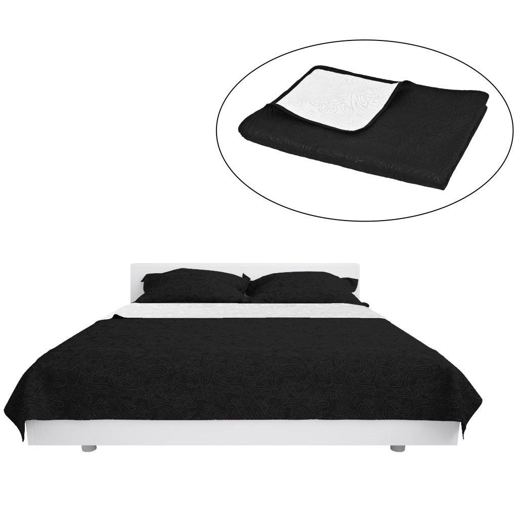 Oboustranný prošívaný přehoz na postel - černo-bílý | 220x240 cm