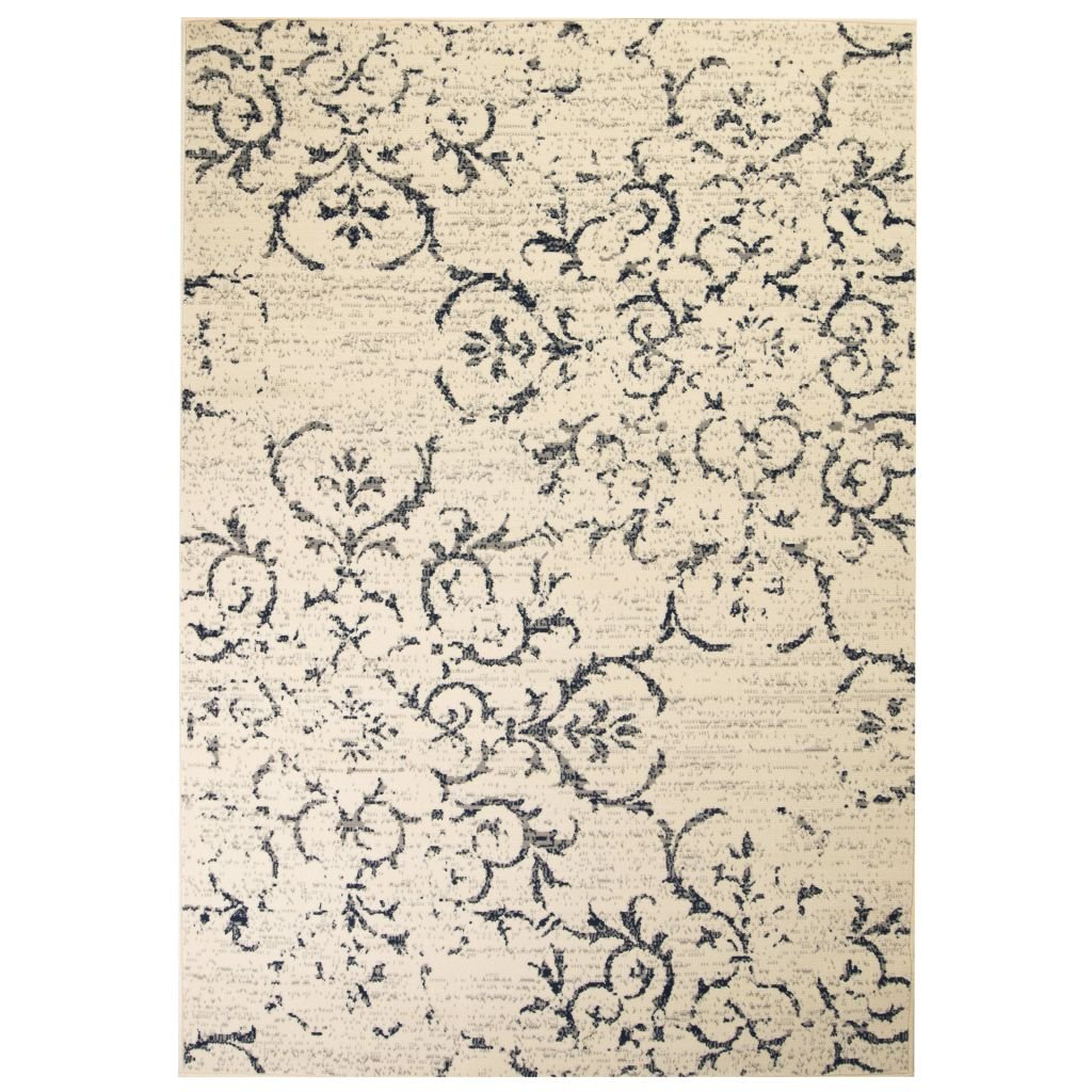 Moderní koberec s květinovým vzorem -  béžovo-modrý | 80x150 cm