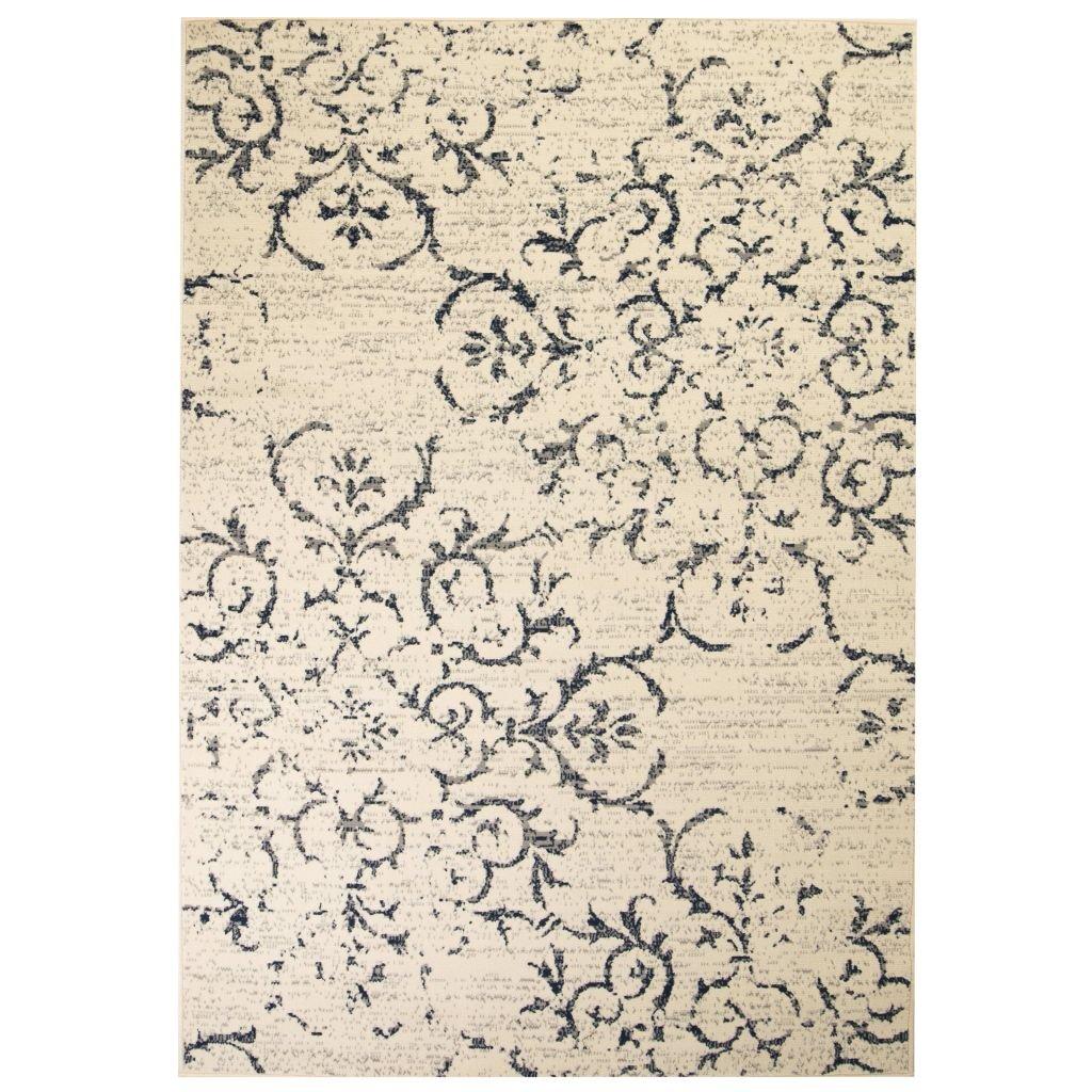Moderní koberec s květinovým vzorem - béžovo-modrý | 140x200 cm