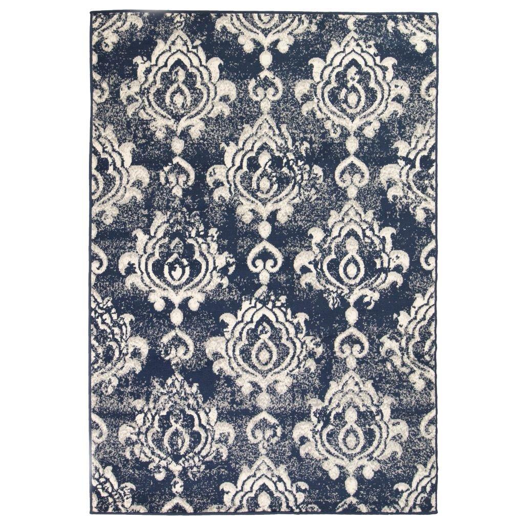 Moderní koberec s kašmírovým vzorem - béžovo-modrý | 80x150 cm
