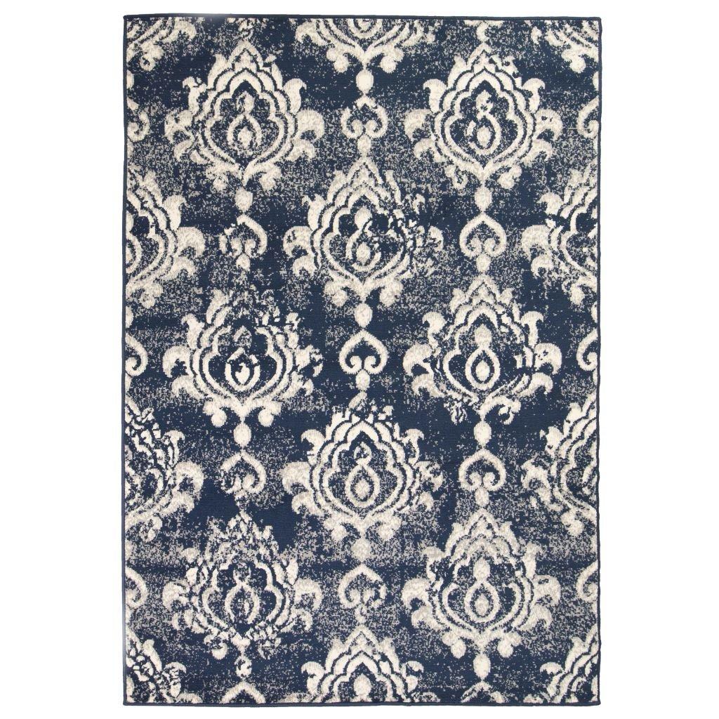 Moderní koberec s kašmírovým vzorem - béžovo-modrý | 140x200 cm