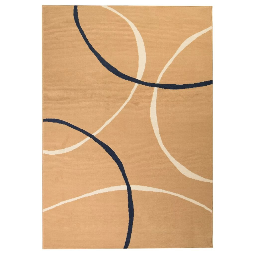 Moderní koberec s kruhovým vzorem - hnědý | 80x150 cm