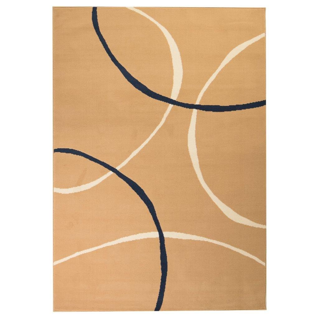 Moderní koberec s kruhovým vzorem - hnědý | 140x200 cm