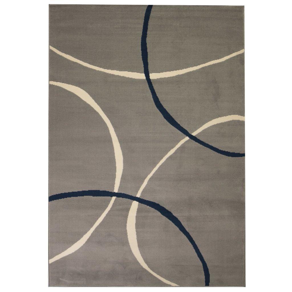 Moderní koberec s kruhovým vzorem - šedý | 80x150 cm