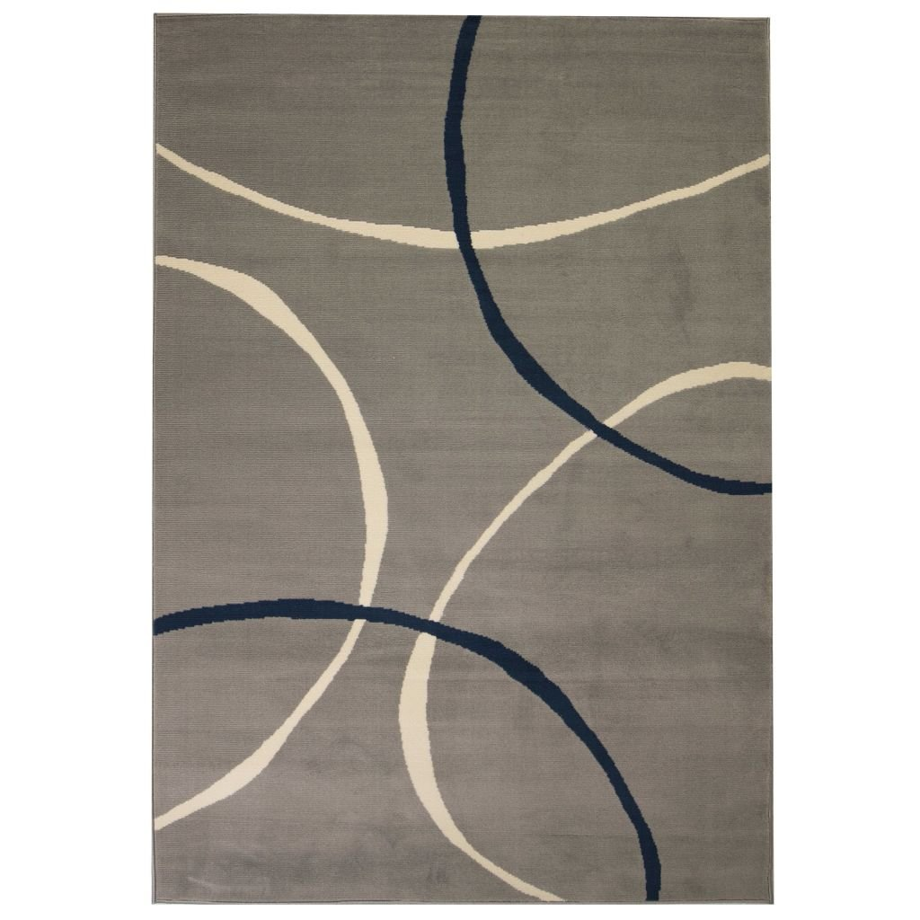 Moderní koberec s kruhovým vzorem - šedý | 120x170 cm