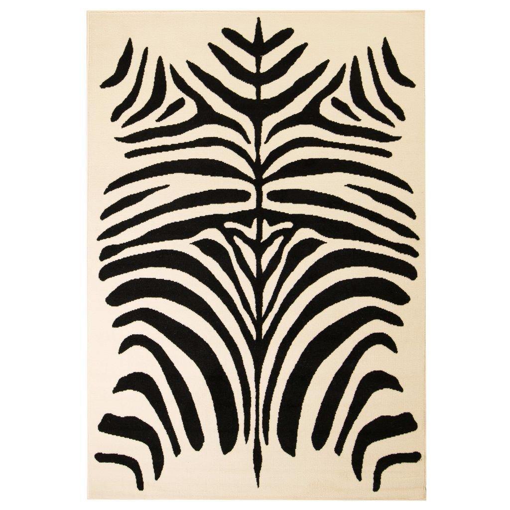 Moderní koberec se zebřím vzorem - béžovo-černý | 140x200 cm