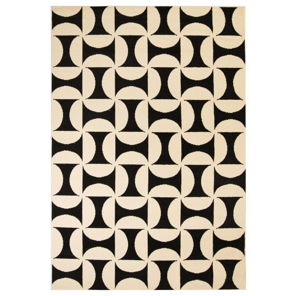 Moderní koberec s geometrickým vzorem -  béžovo-černý | 80x150 cm