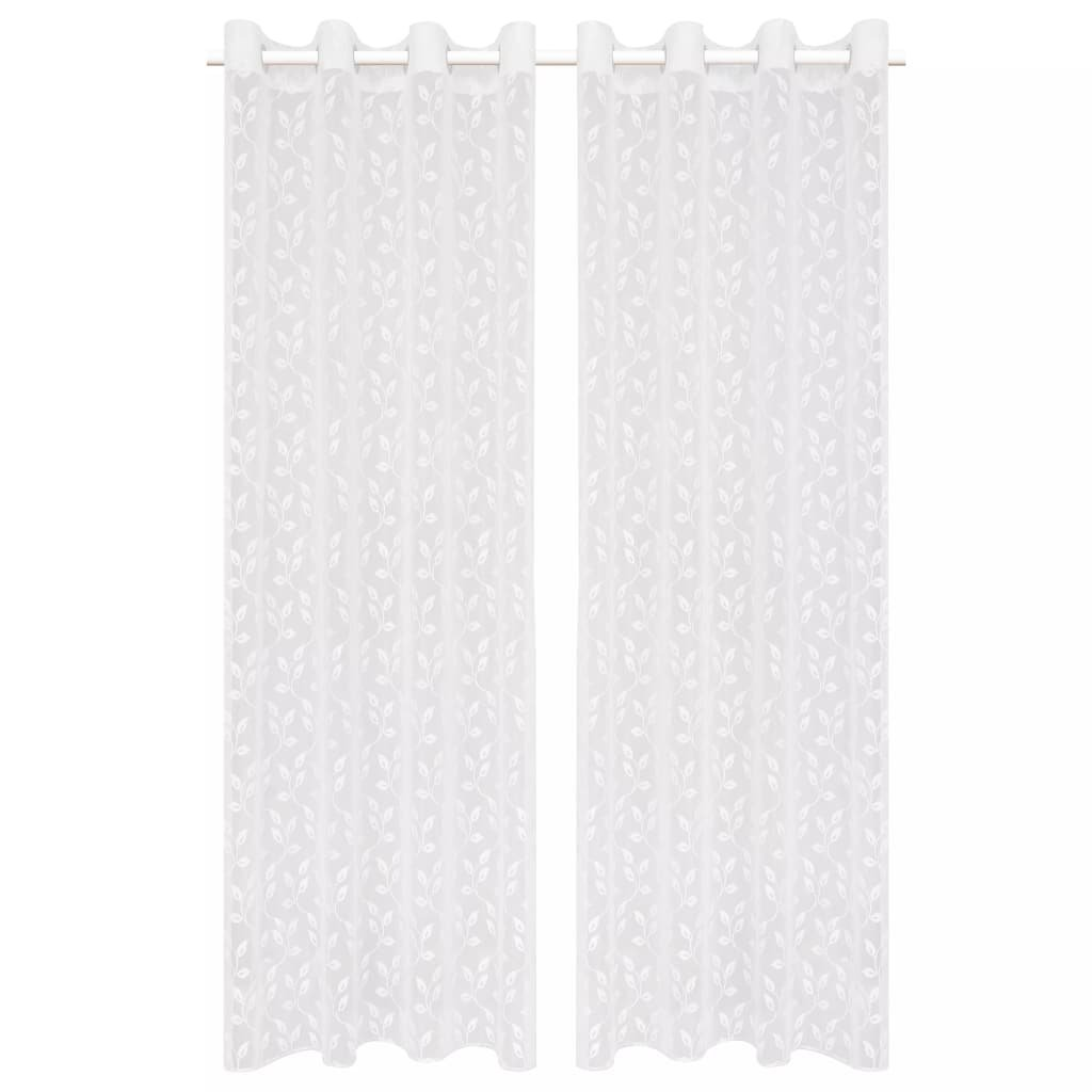 Zvlněné pletené průsvitné záclony - 2 ks - bílé listy   140x175 cm