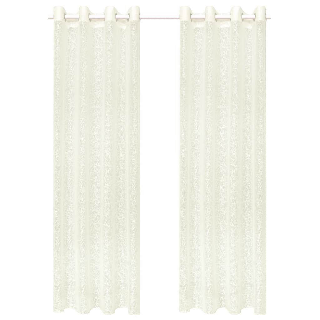 Pletené průsvitné závěsy - 2 ks - smetanové větvičky | 140x225 cm