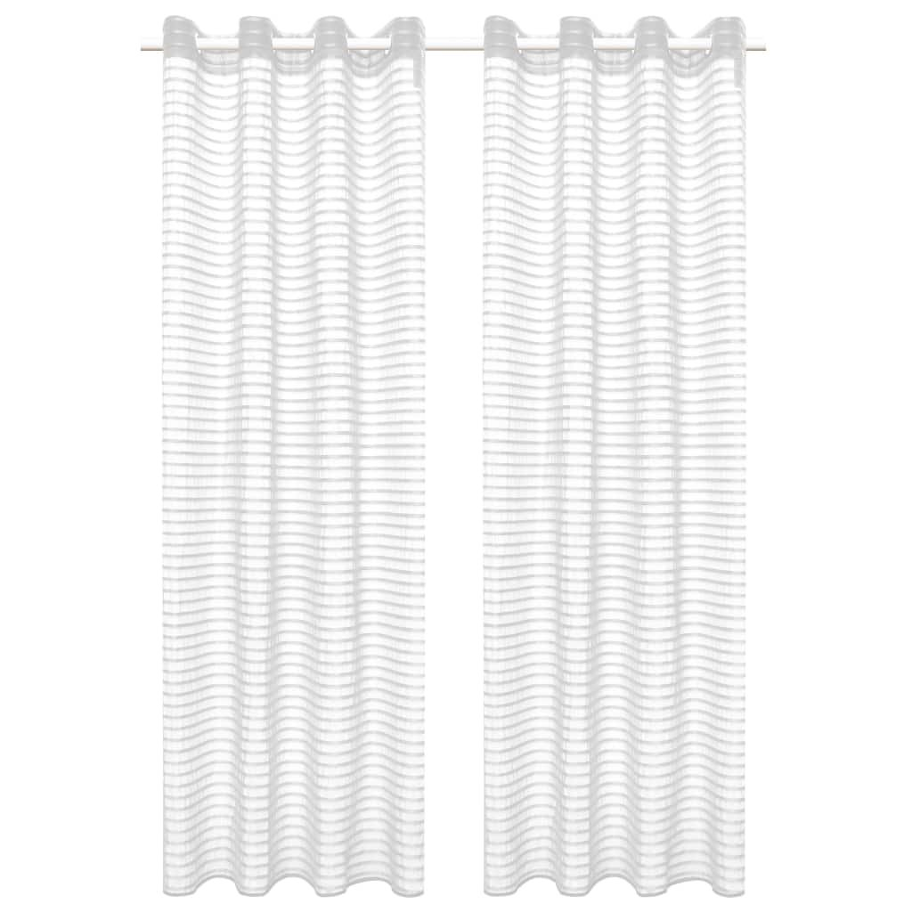 Tkané pruhované průsvitné závěsy - 2 ks - bílé | 140x175 cm