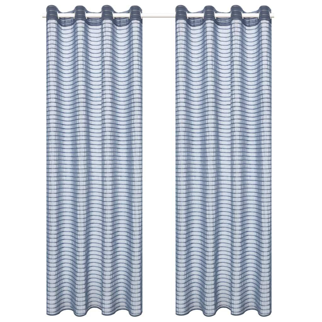 Tkané pruhované průsvitné závěsy - 2 ks - ocelově šedé | 140x225 cm