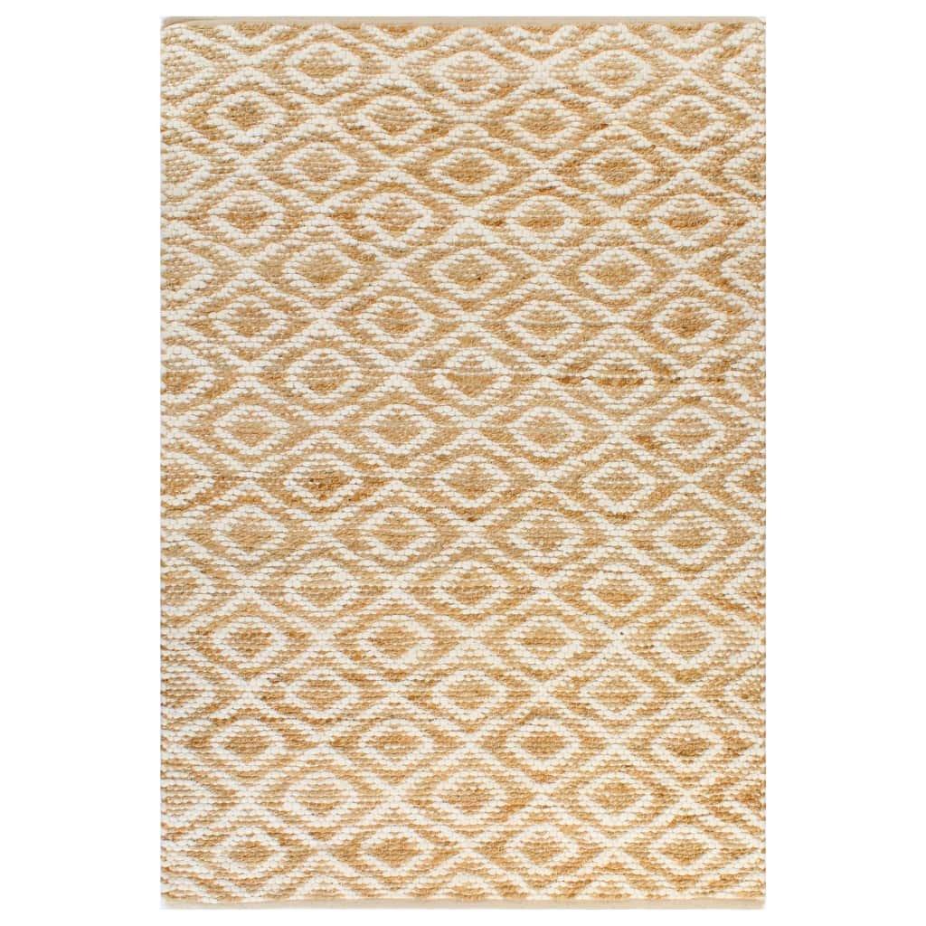 Ručně tkaný kusový koberec z juty - bílý | 120x180 cm