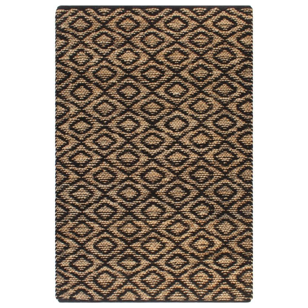 Ručně tkaný kusový koberec z juty - přirodní a černý | 120x180 cm