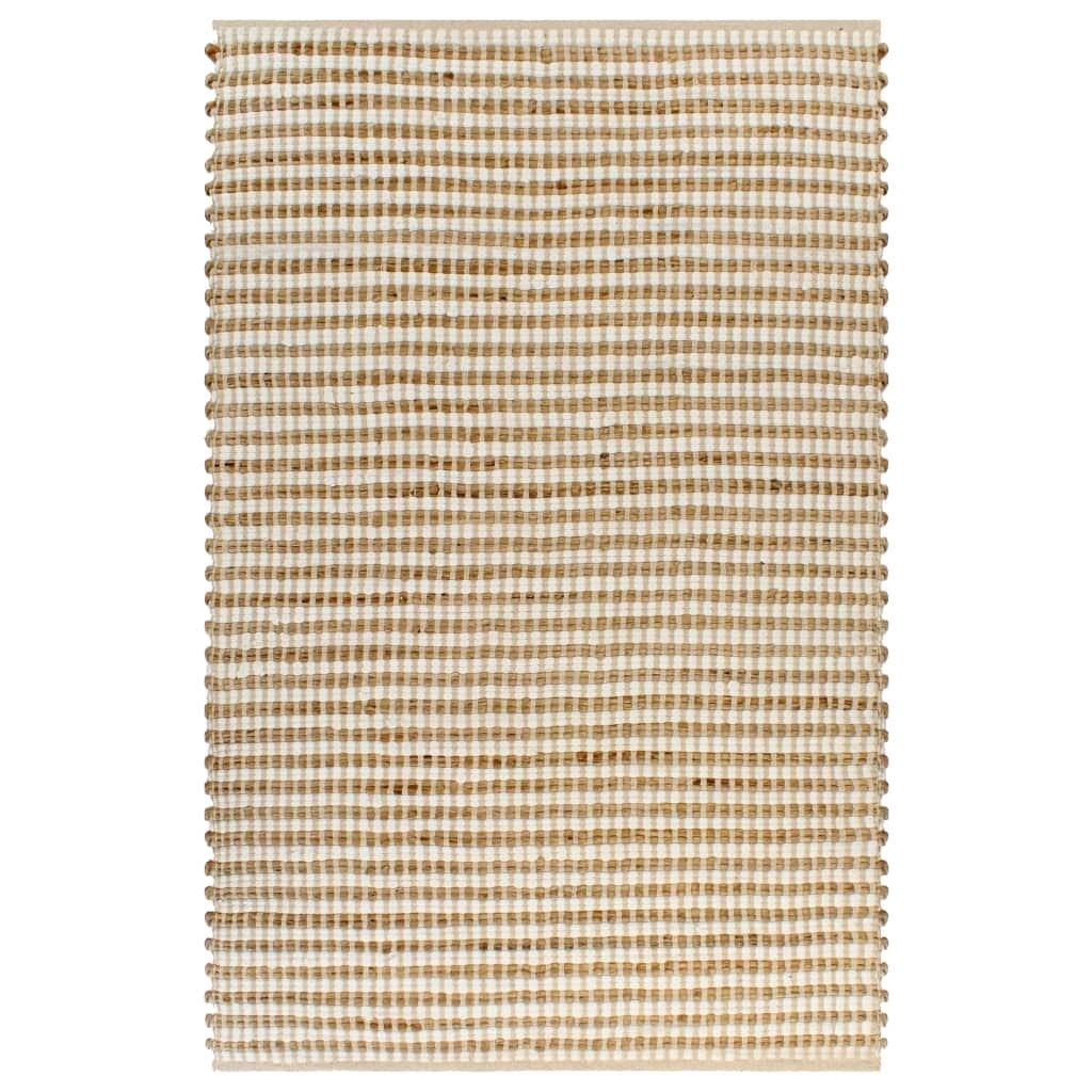Ručně tkaný kusový koberec z juty - přírodní a bílý | 120x180 cm