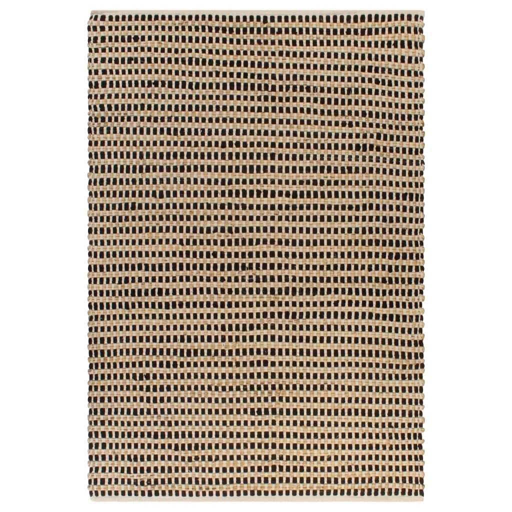 Ručně tkaný kusový koberec z juty - černý | 120x180 cm
