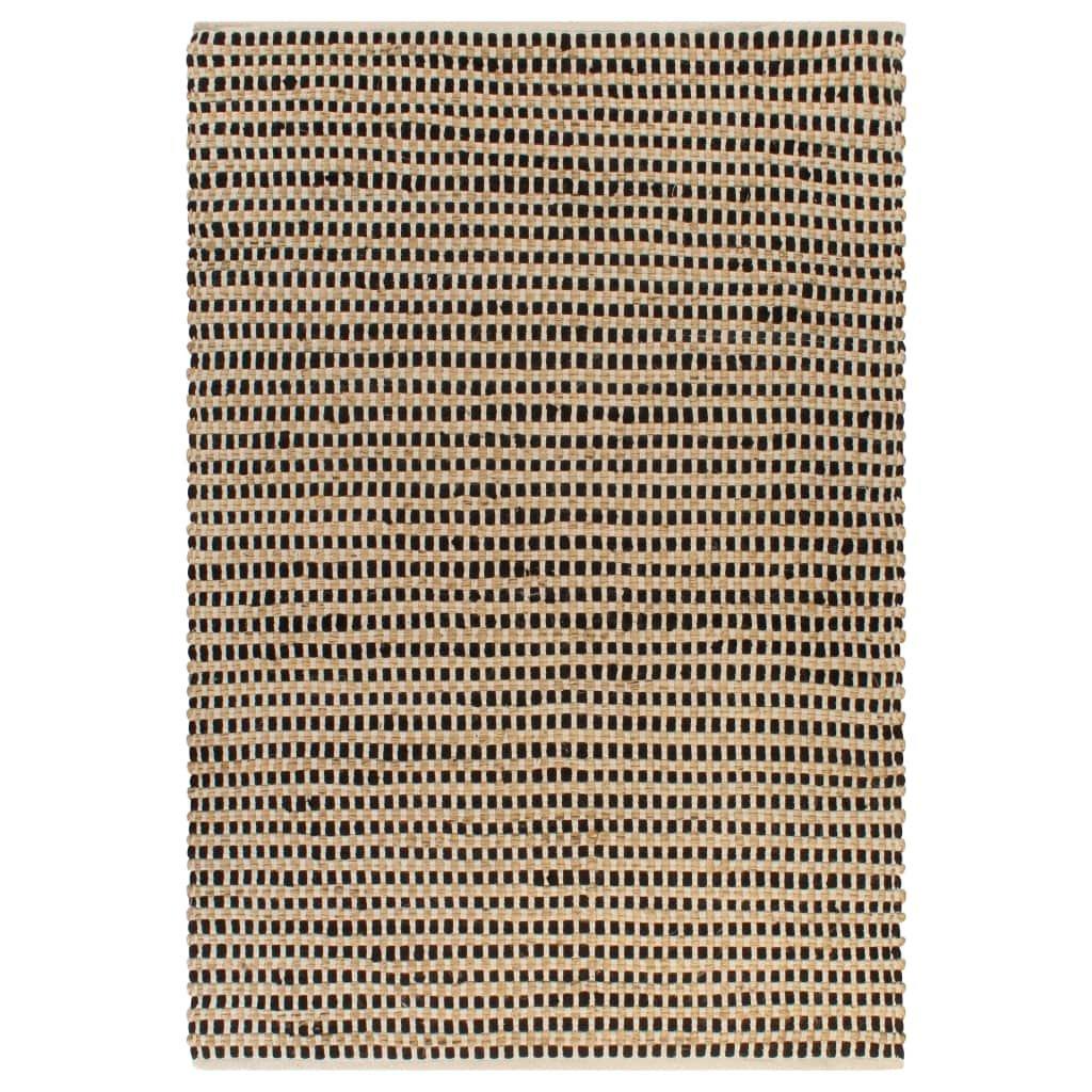 Ručně tkaný kusový koberec z juty - černý   160x230 cm