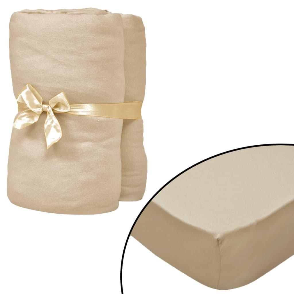 Napínací prostěradla - 2 ks - bavlna - béžová | 190x200 cm
