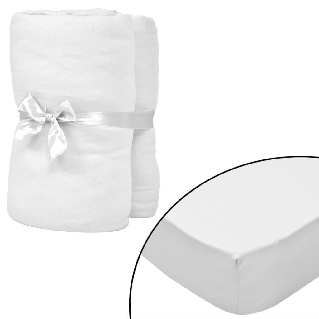 Napínací prostěradla do kolébky - 4ks - bavlna - bílá | 70x140cm
