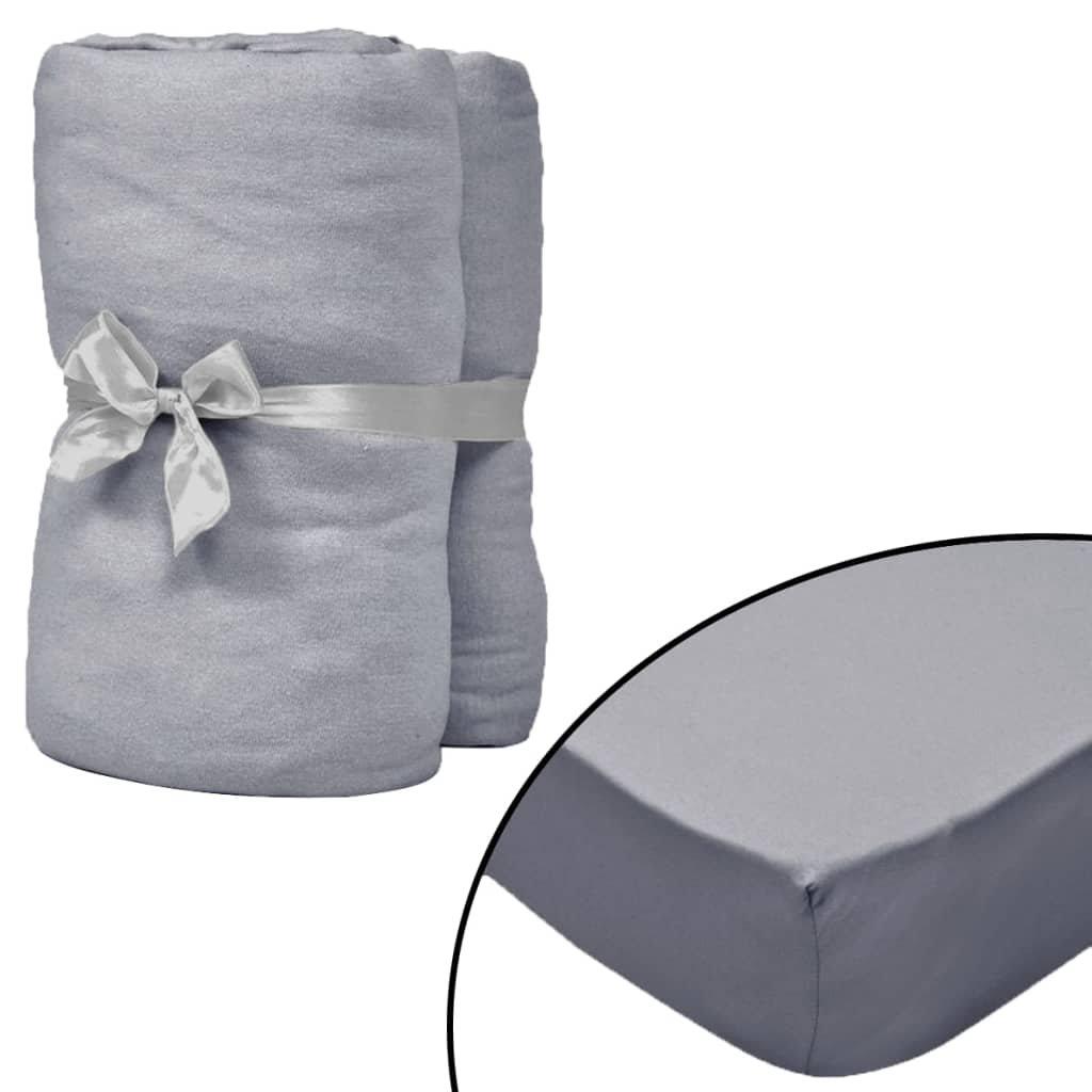 Napínací prostěradla do kolébky - 4 ks - bavlna - šedá | 70x140cm