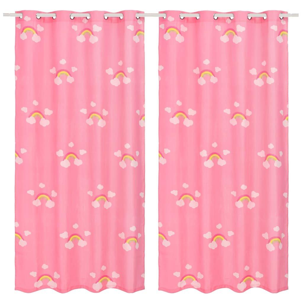 Dětské zatemňovací závěsy s potiskem - 2ks - růžové | 140x240 cm