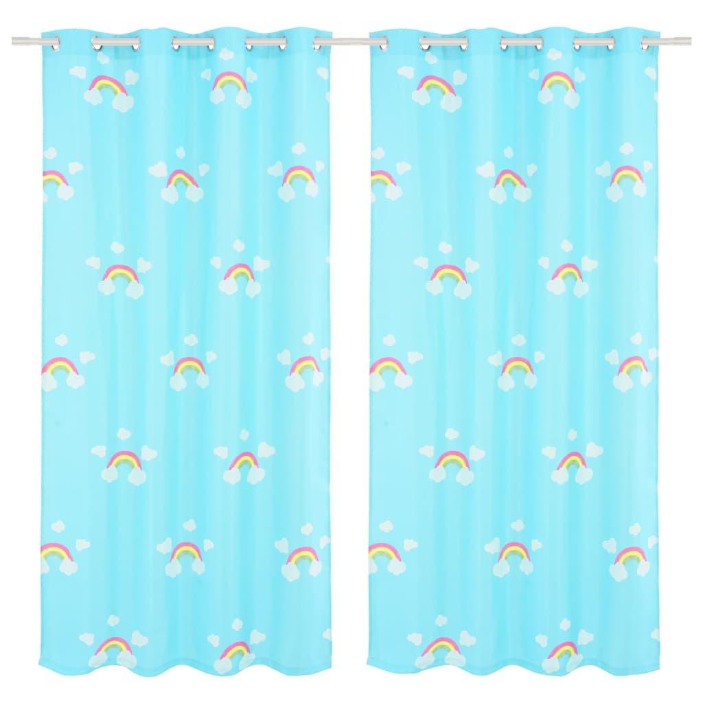 Dětské zatemňovací závěsy s potiskem - 2 ks - modré | 140x240 cm