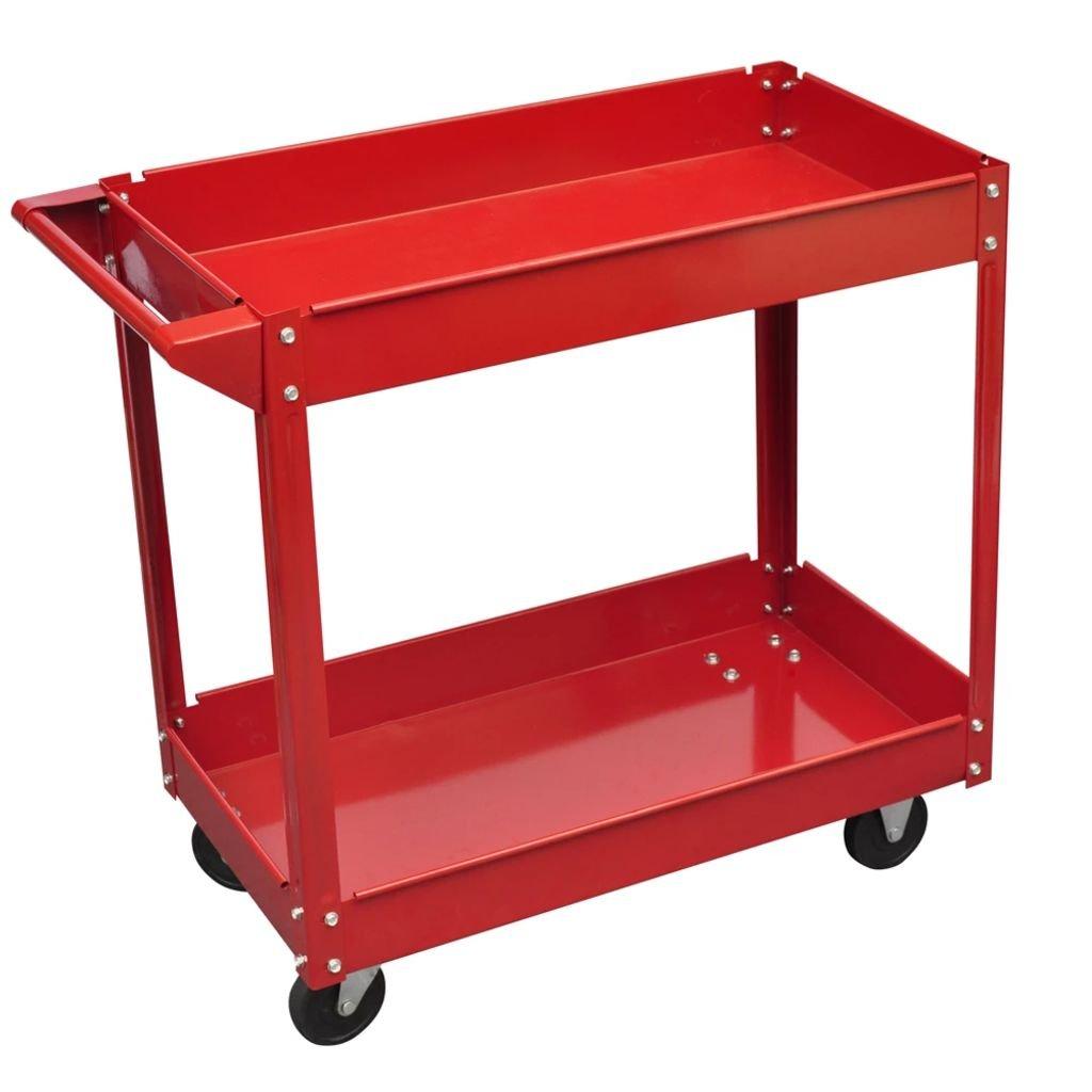 Dílenský vozík se 2 policemi a 4 kolečky - 100 kg | červený