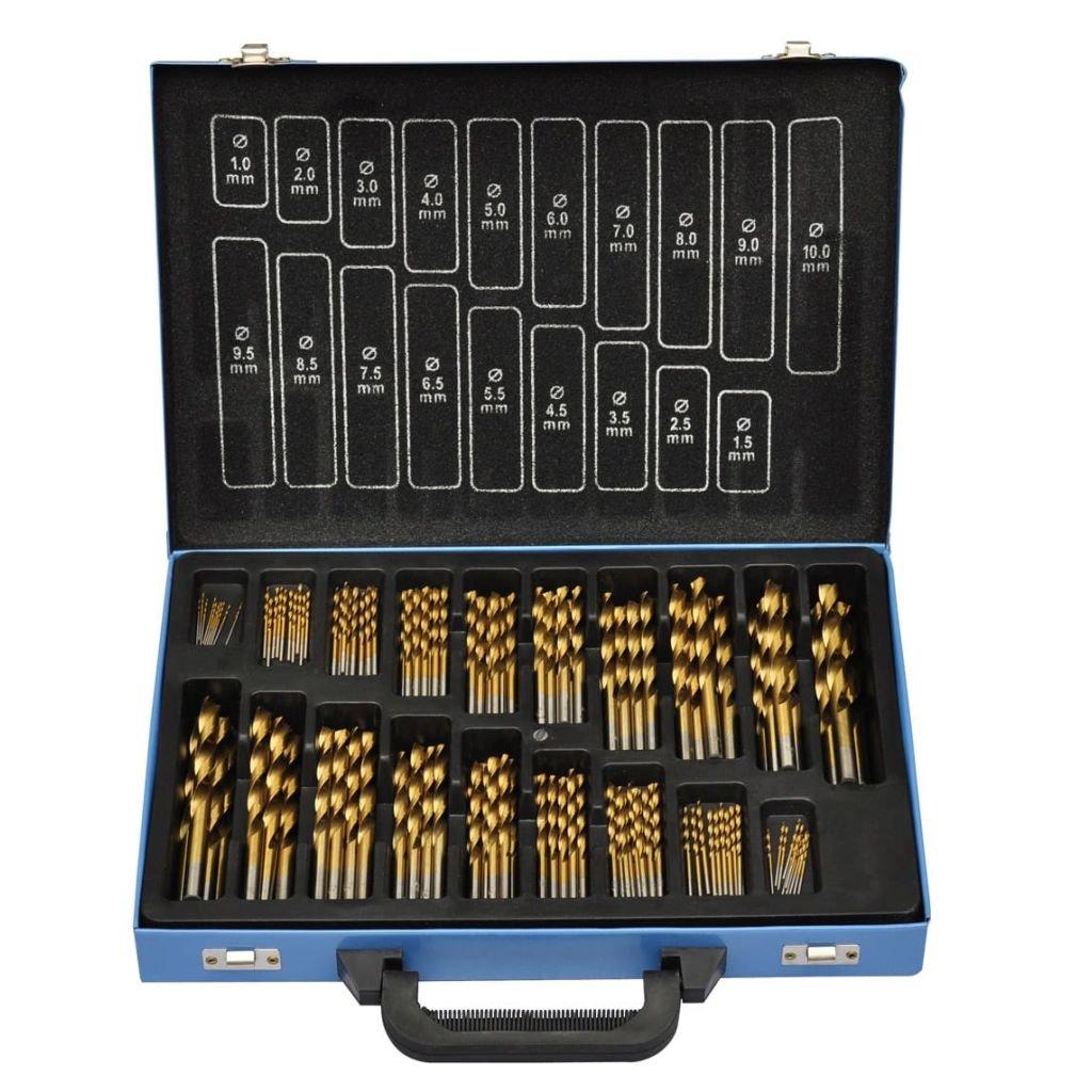 170 kusová titanová sada vrtáků v kovové krabici HSS TI