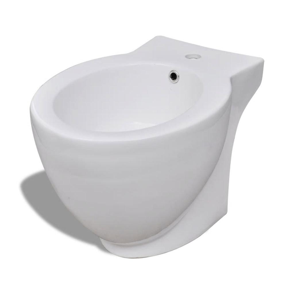 Kulatý bidet volně stojící - keramika | bílý