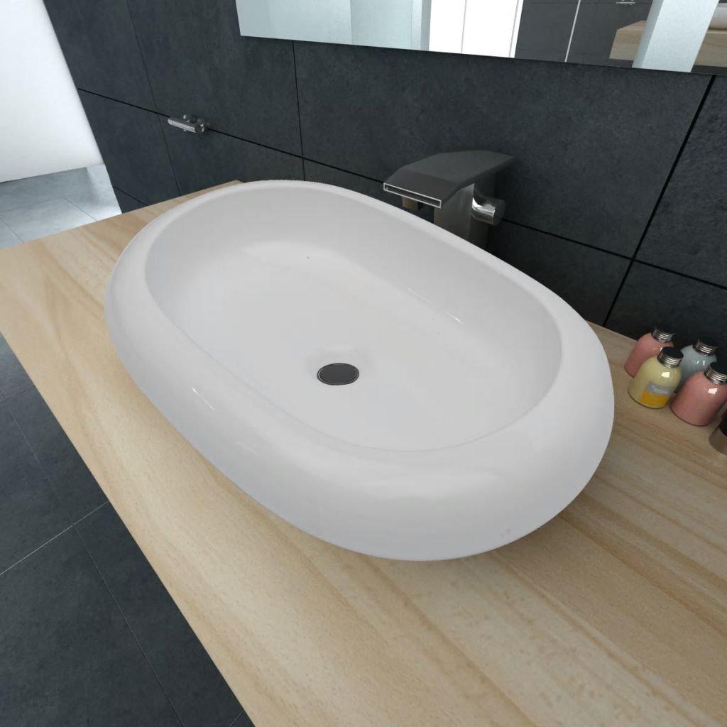 Luxusní keramické oválné umyvadlo - 63x42 cm   bílé