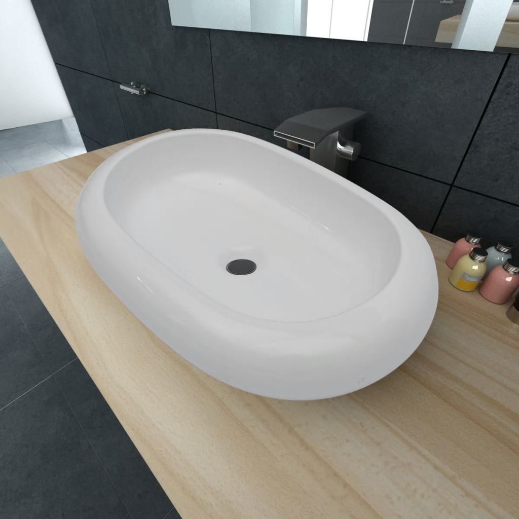 Luxusní keramické oválné umyvadlo - 63x42 cm | bílé